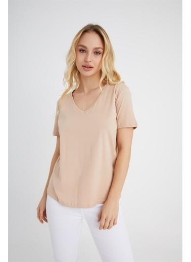 Z Giyim Pamuklu V Yaka T-shirt Bej